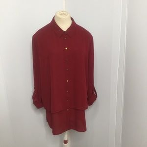 Red Button Down Blouse